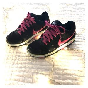 Black, pink and light blue Nike Air